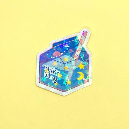 Outerspace Glitter Milky Way Kawaii Pastel Holographic Milk Drink Sticker