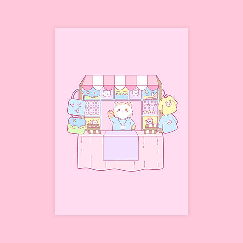 5x7 Illustrated Kawaii Holographic Original Artist Alley Cat Style Prin