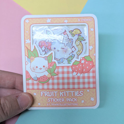 Cute Fruit Kitties Holographic Sticker Pack (6)