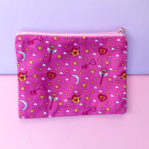 Magical Girl Sailor Moon Card Captor inspired 7 x 5 Pink Canvas Bag Zipper Pouch