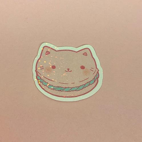 Kawaii Macaroon Macron Pastel Kitty Holographic Sticker