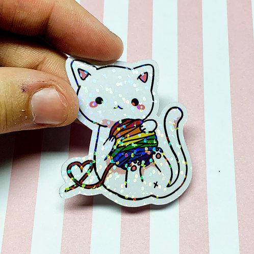 Holographic LGBTQ+ Pride Glitter Yarn Kitty Sticker