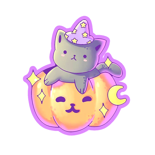 Pumpkin Cat Holographic Sticker