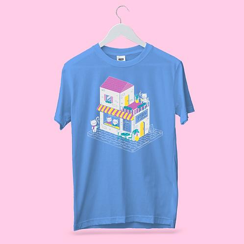 Sweet Cat Cafe Baby Blue Unisex T Shirt