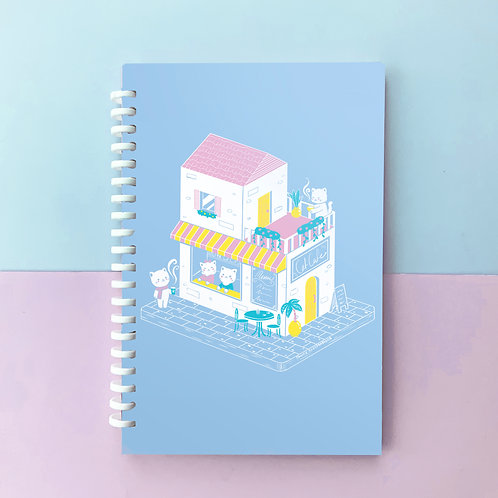 Kawaii Cat Cafe Coffee Shop Cozy Cute A5 Lined Notebook