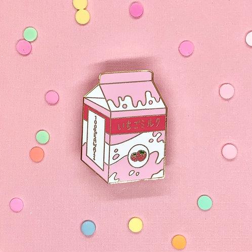 Kawaii Strawberry Milk Enamel Pin