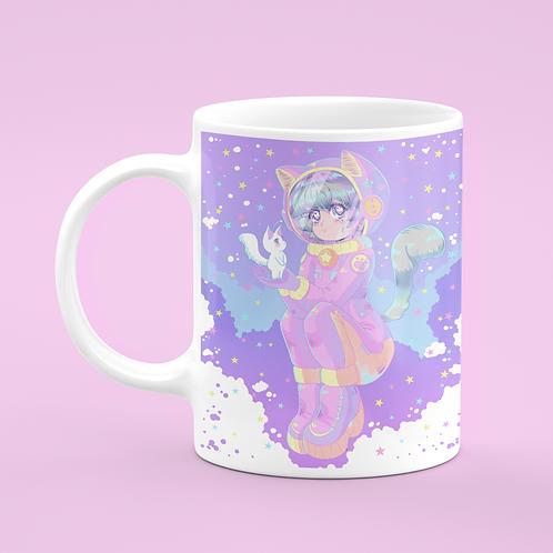 Kawaii Space Anime Cat Girl Astronaut Mug
