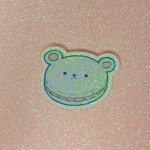 Kawaii Macaroon Macron Pastel Bear Holographic Sticker