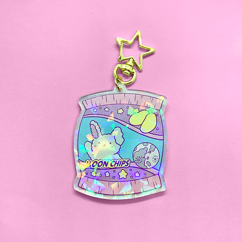 Kawaii Holographic Moon Chips Keychain
