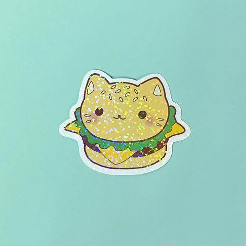 Holographic Kawaii Fast Food Kitty Cat Sticker