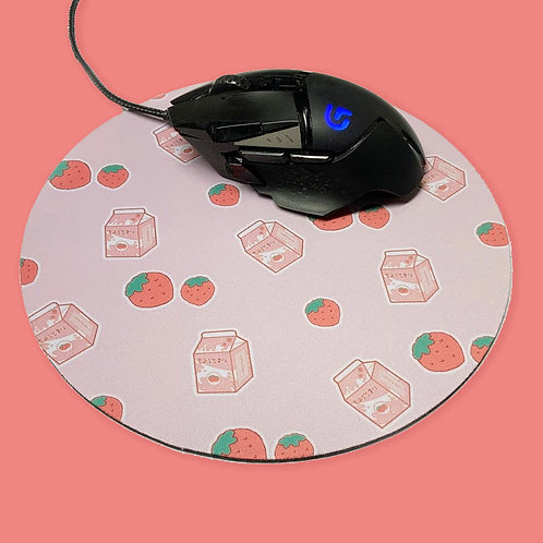 Kawaii Aesthetic Strawberry Milk Mouse Pad