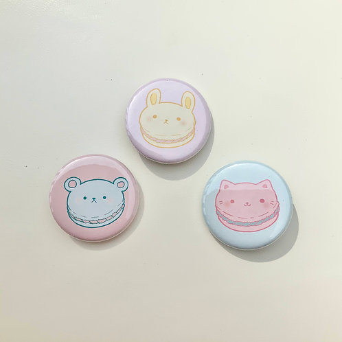 "Macaron Animals 1.25"" Holographic Pinback Button"