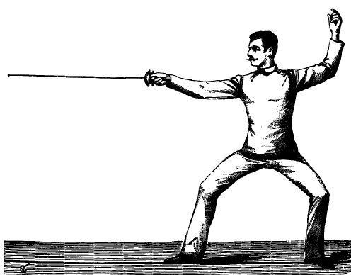 Italienischer Fechter in Fechtstellung mit gestrecktem Arm