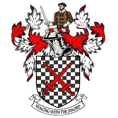 Ein Wappen mit überkreuzten Schwertern, einem Helm und einem Ritter mit Schwert