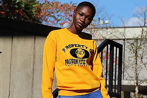 Yellow Property of Passionate Rebel Fashion Department Crewneck