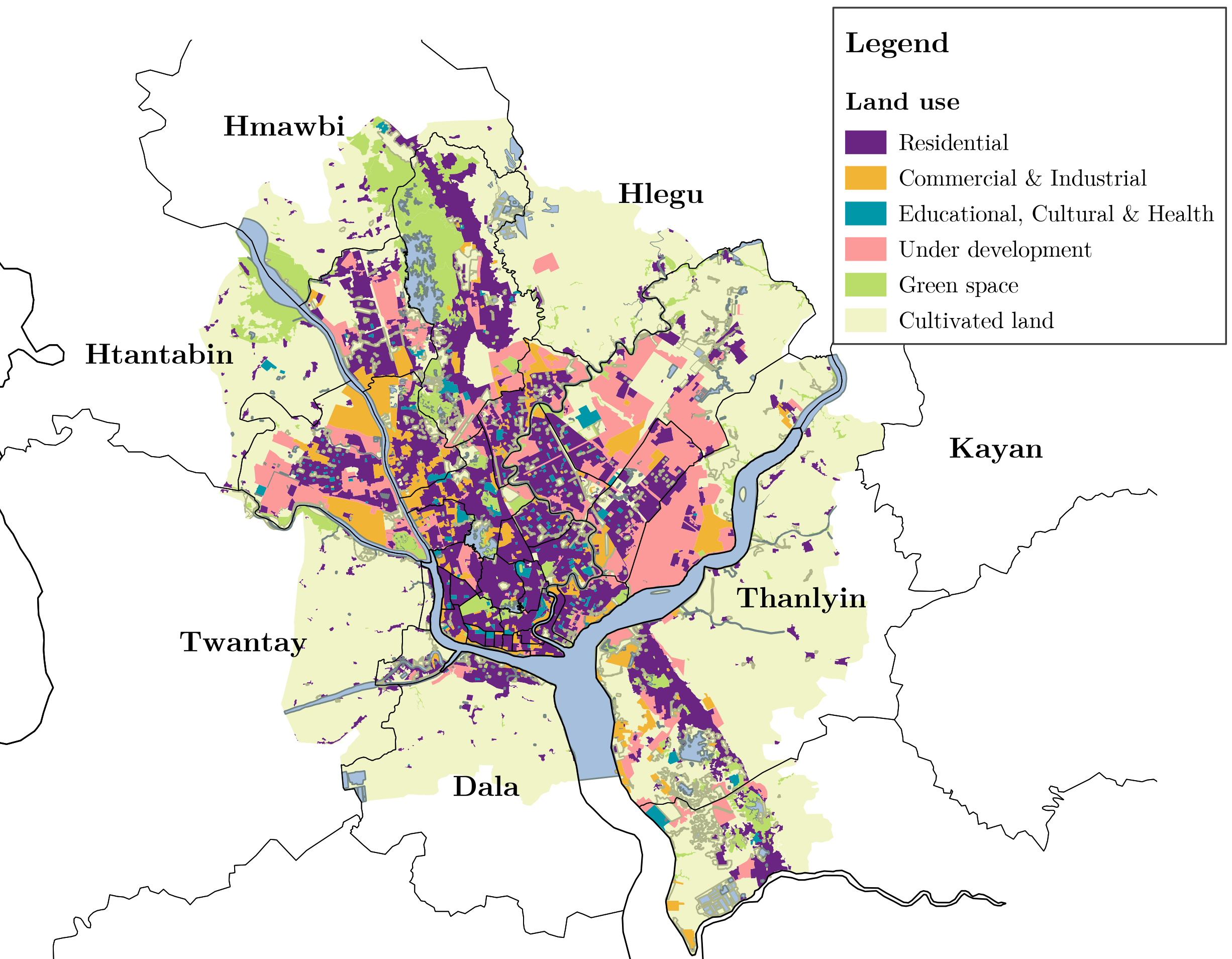 Land use in Yangon, Myanmar