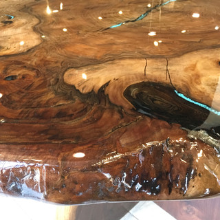 Black Walnut raw edge table by Earl Bolkan