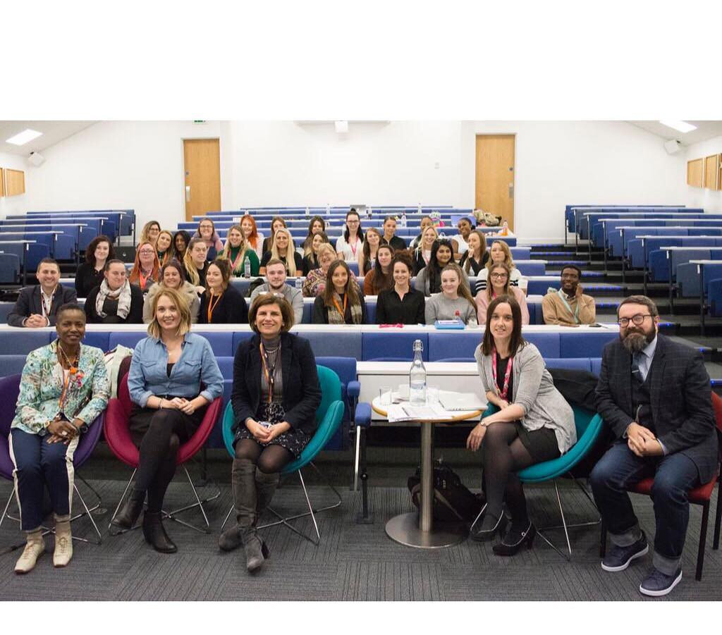 Jennifer Wyman at Derby University. Listening to and giving advice to students in health and social care. Seen with Professor Kath Mitchell.