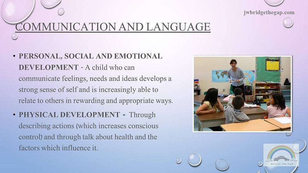 Communication and language development and how it impacts the other two prime areas.