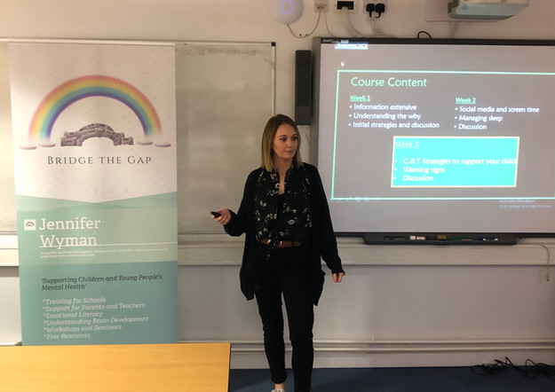 Jennifer Wyman of Littleover, derby delivering week 2 of her parent course. Supporting Your Child's Mental Health.