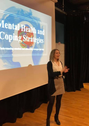 Jennifer Wyman from Derby speaking to pupils at William Allitt School. Discussing about emotional and mental health and well-being.