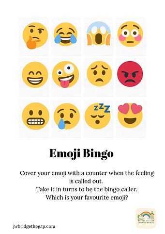 Emoji Bingo Download. 5 Bingo cards and Sheet for calling.