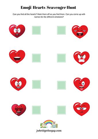 Emoji Hearts Scavenger Hunt Mental Health shomeschooling for children
