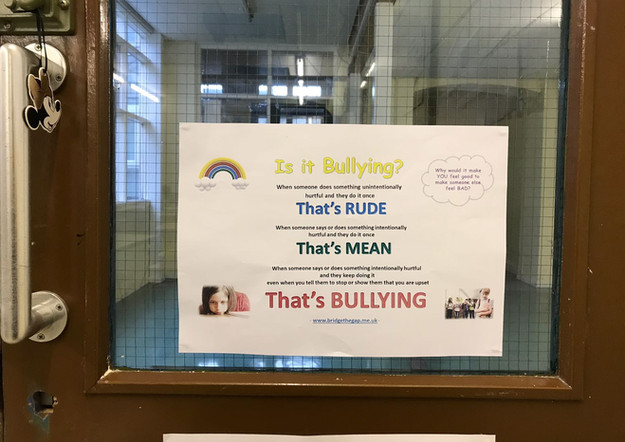 What is Bullying? poster by Jennifer Wyman, Bridge the gap, Derby. Supporting children and young people's mental and emotional health. Free bullying posters.
