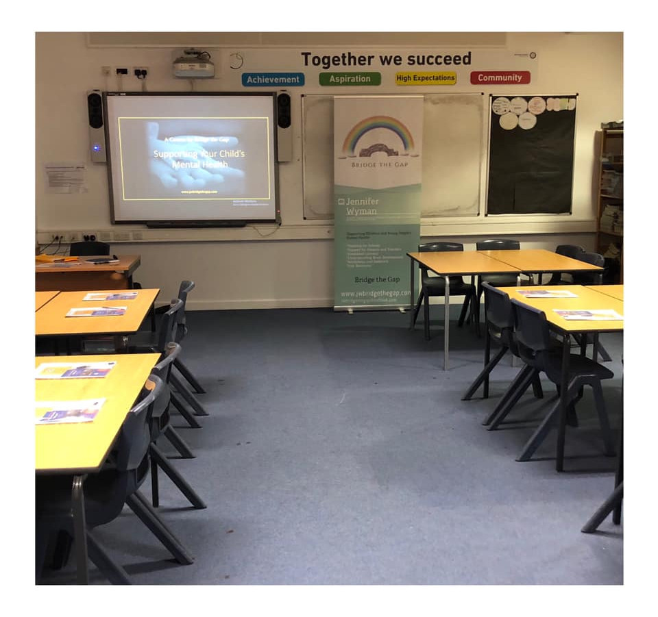 Jennifer Wyman, room set up to deliver a course to parents on supporting child mental health. At Derby Moor Academy in Littleover, Derby.