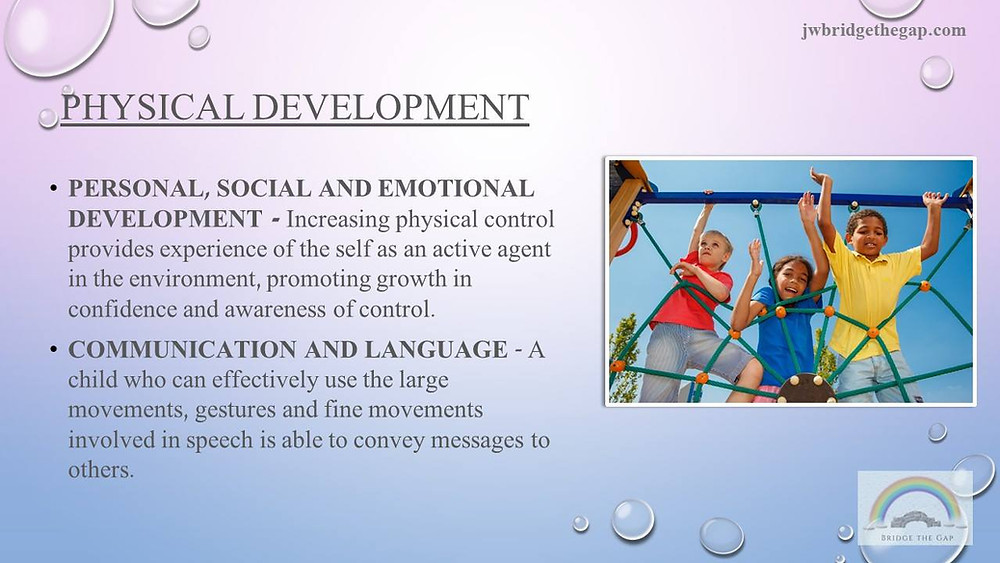 Physical development and how it supports the development of the other two prime areas.