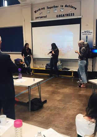 teachers form Wyndham Primary sharing their emotional literacy ideas to the group. Child mental health & emotional development, Derby.