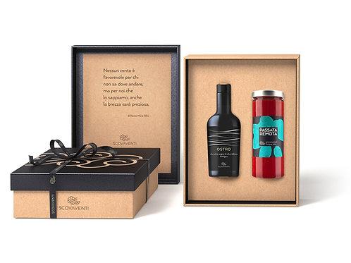 Caja regalo: aceite extravirgen de oliva biologico Italiano y passata de tomate