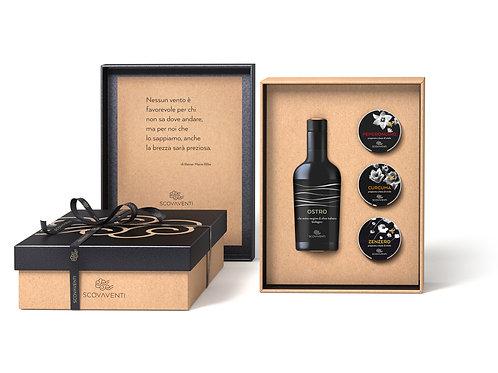 Caja regalo: aceite extravirgen de oliva biologico Italiano y 3 mieles Italianos