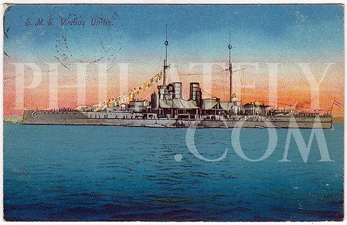 German Empire (Deutsches Reich) Military Propaganda Postcard- SMS Viribus Unitis