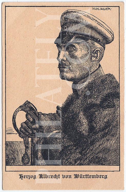 German Empire (Deutsches Reich) Military Propaganda Postcard- Albrecht by Bauer