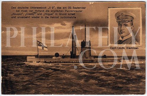 German Empire (Deutsches Reich) Military Propaganda Postcard- Weddigen & U-9