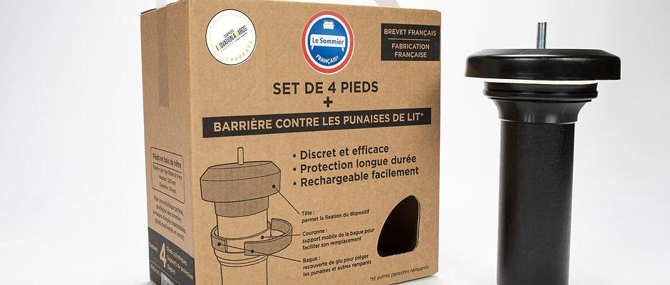 Kit barrière punaises de lit pieds teinté noir- 8 plots