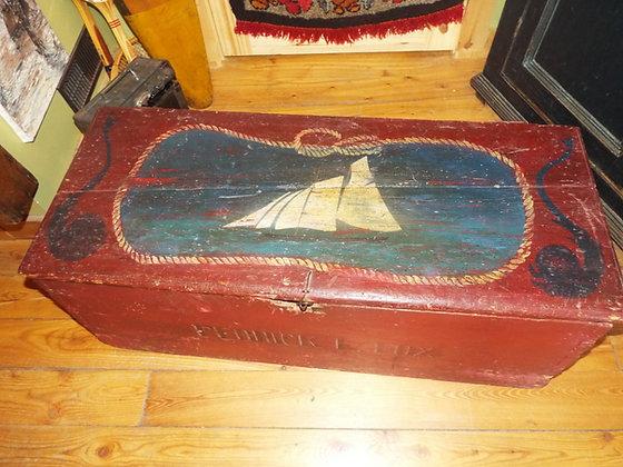 3461 Coffre de marine en pin pièce de collection