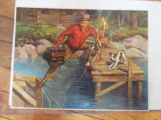 6349 Ancienne affiche chasse et pêche