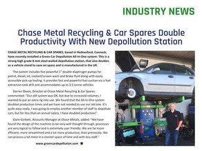 Chase Metal Recycling Double's Productivity with our best selling All In One ELV Depollution System