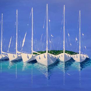 Bateaux Sur Mer Azur 130X90cm - Serge Renaudier
