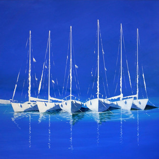 Bateaux blancs au port 130X90 - €2095.jp
