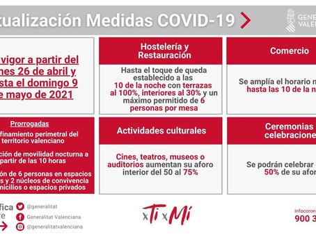 Nuevas medidas COVID a partir del 26 de abril de 2021