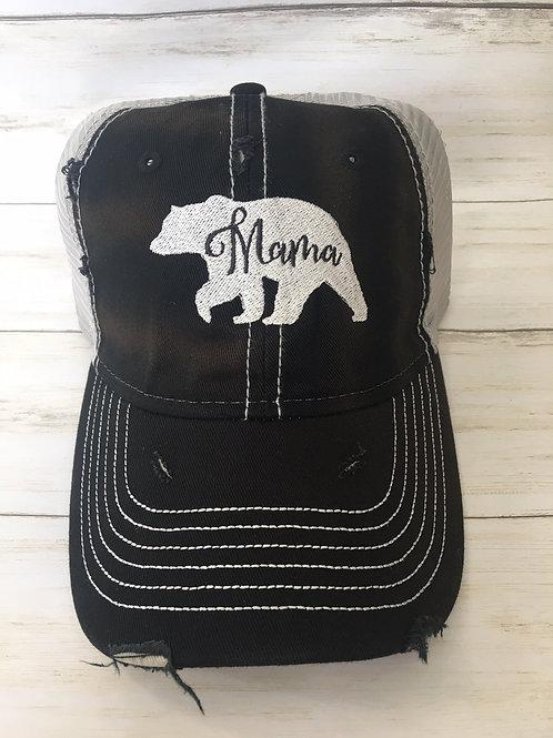 Mama Bear Distressed Trucker Hat