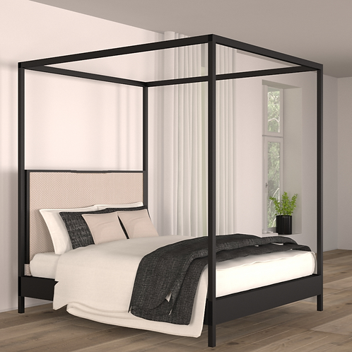 Noir Canopy Bed King Size