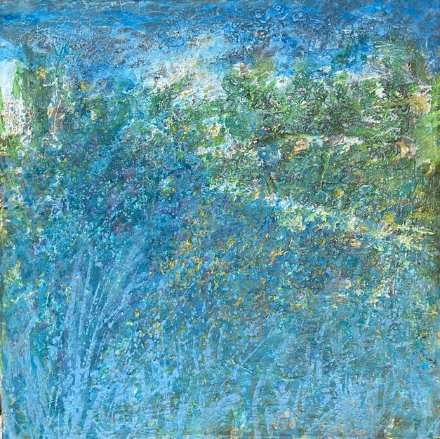 Blue tree. 39.5 x 39.5 In. Mixed media.