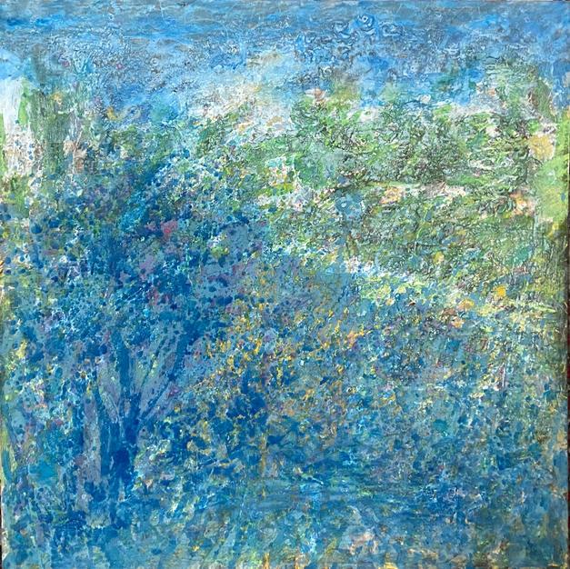 Blue tree. 39.5 x 39.5 In. Mixed media. $5.500 US