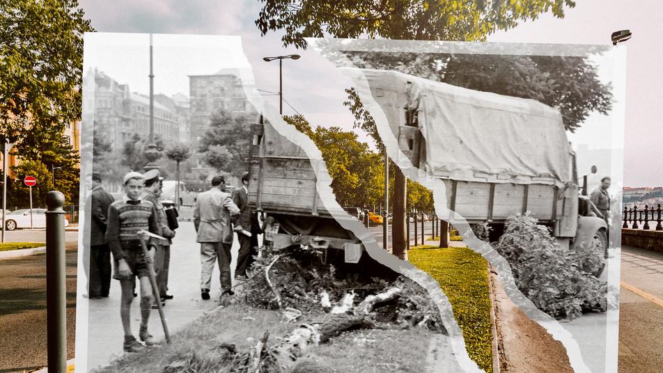 1955, Budapest, Széchenyi rakpart a Margit híd felől a Markó utca felé nézve. Balra a Balaton (Pálffy György) utca torkolata | fortepan_67247