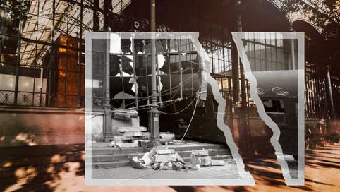 1962, Budapest Nyugati pályaudvar, a Teréz (Lenin) körútra baleset következtében kifutott vasúti kocsi | fortepan_67496