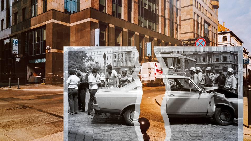 1981, Budapest, az Arany János utca - Sas (Guszev) utca kereszteződésben, jobbra a Hercegprímás (Alpári Gyula) utca házai | fortepan_66635